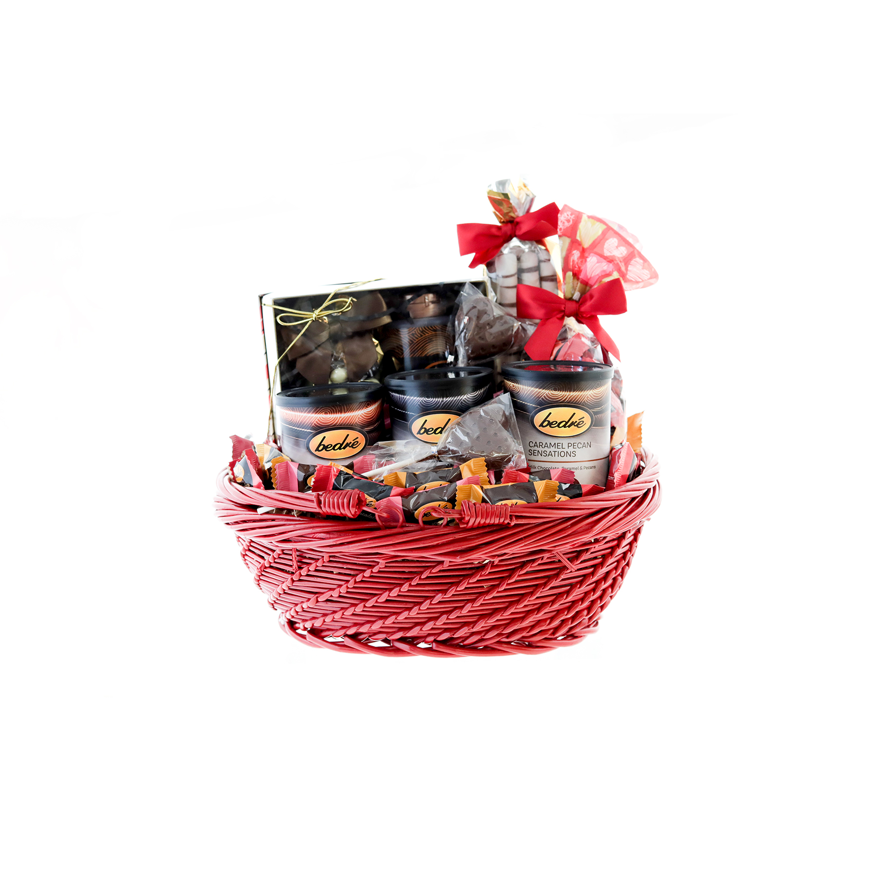 Red Mother's Day basket with assorted Bedre Chocolates