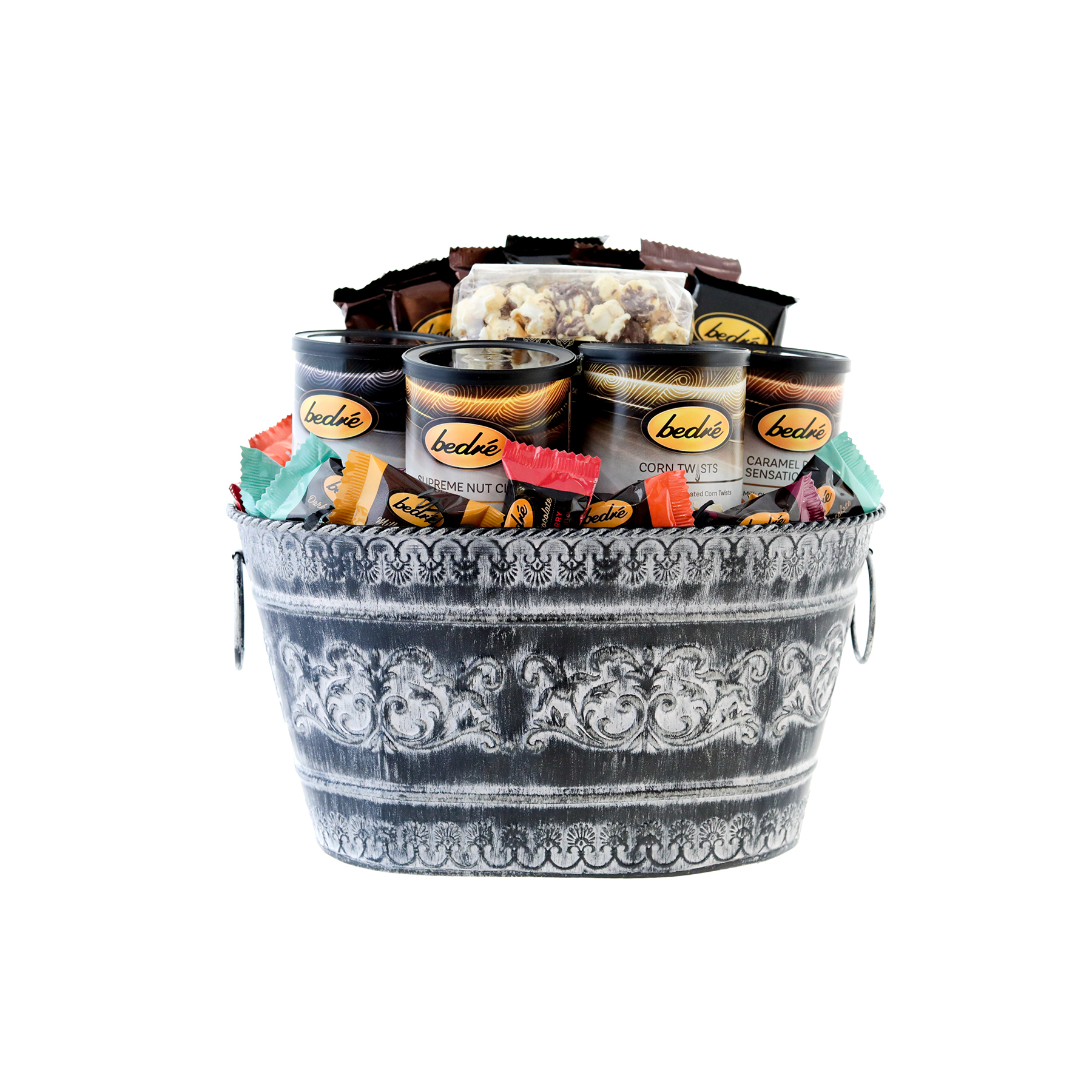 Large Mother's Day tin basket with assorted Bedre chocolates