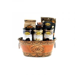 small gift basket of gourmet chocolate